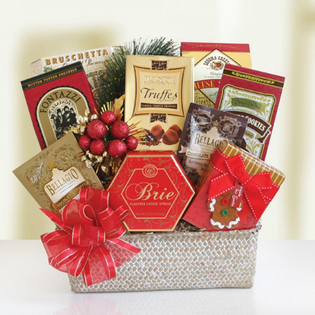 Christmas Food Gifts Baskets  Festive Holiday Food Baskets 7919 At Print EZ