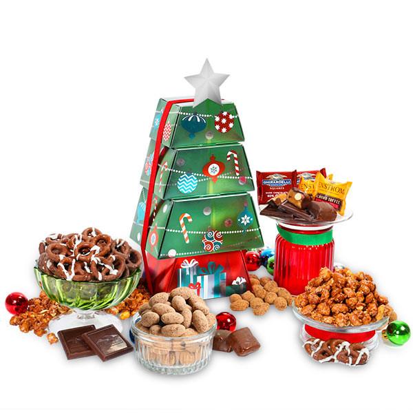 Christmas Food Gifts Baskets  Christmas Food Gift Tower by GourmetGiftBaskets