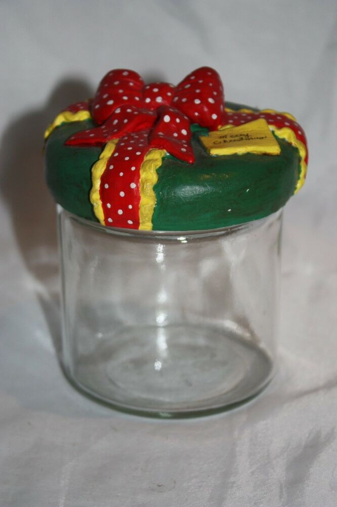 Christmas Glass Candy  Merry Christmas Clear Glass Candy Gift Jar Canister Twist
