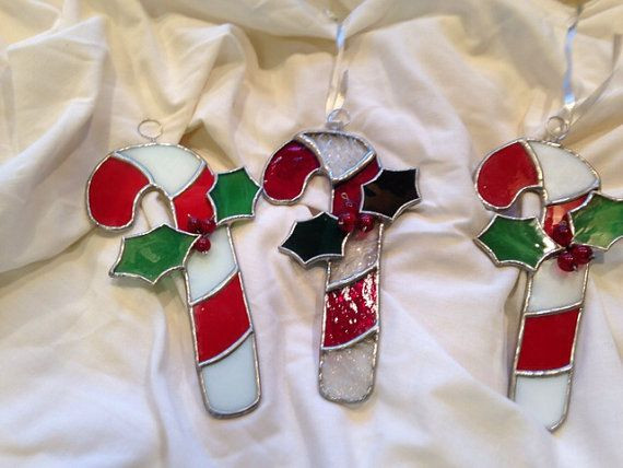 Christmas Glass Candy  Stained Glass Candy Cane Christmas Ornaments by