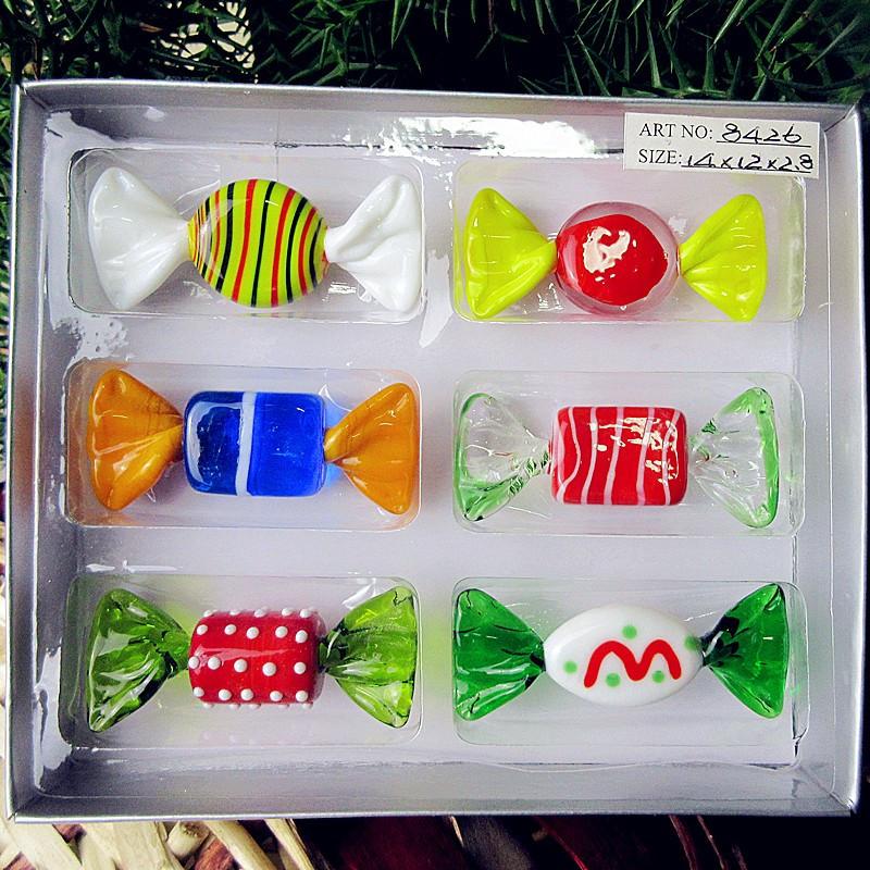 Christmas Glass Candy  6 PCS new custom antique hand blown art glass sweets