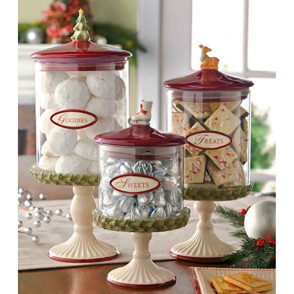 Christmas Glass Candy  Christmas Glass Candy Canisters Set of 3