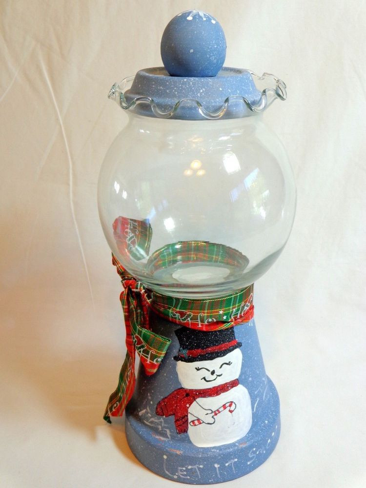 """Christmas Glass Candy  Gumball Jar Christmas Snowman 11"""" Blue LET IT SNOW Stone"""