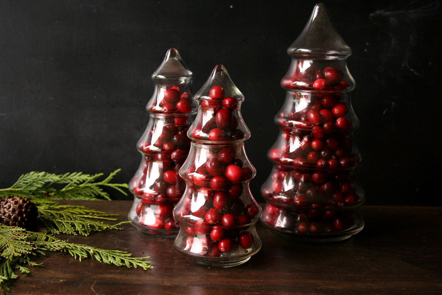 Christmas Glass Candy  Three Glass Pine Tree Candy Jar Christmas Centerpiece From