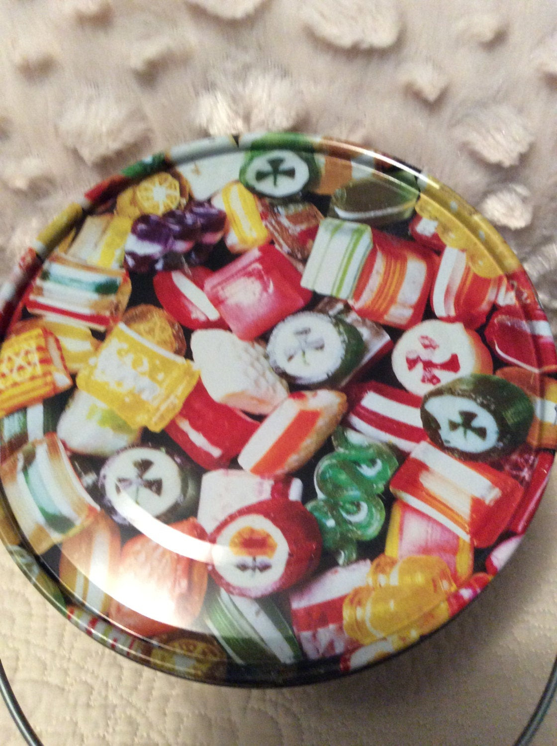 Christmas Hard Candy  Vintage Hard Candy Christmas Tin Container by