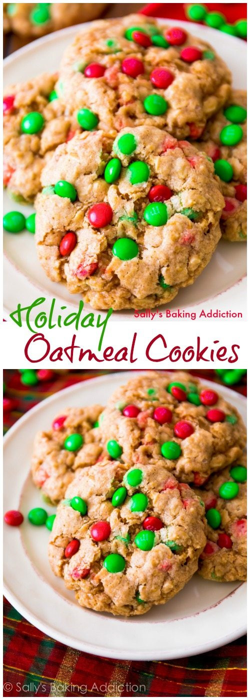 Christmas M And M Cookies  Chewy Oatmeal M&M Cookies Sallys Baking Addiction