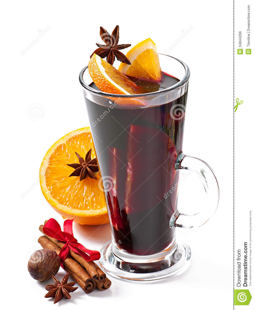 Christmas Mulled Wine  Christmas Mulled Wine In Glass Cup Stock Image