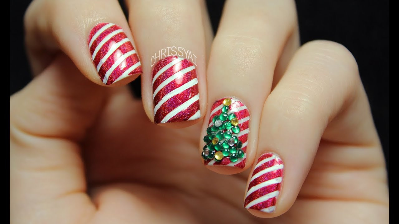 Christmas Nails Candy Cane  Candy Cane Stripes & 3D Christmas Tree Nail Art