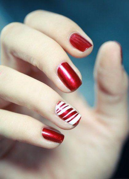 Christmas Nails Candy Cane  nail art