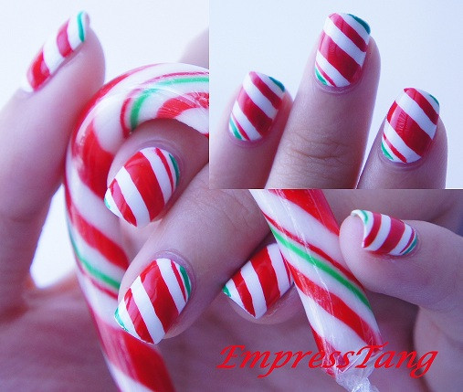 Christmas Nails Candy Cane  Christmas Candy Cane Nails 2 by EmpressTang on deviantART