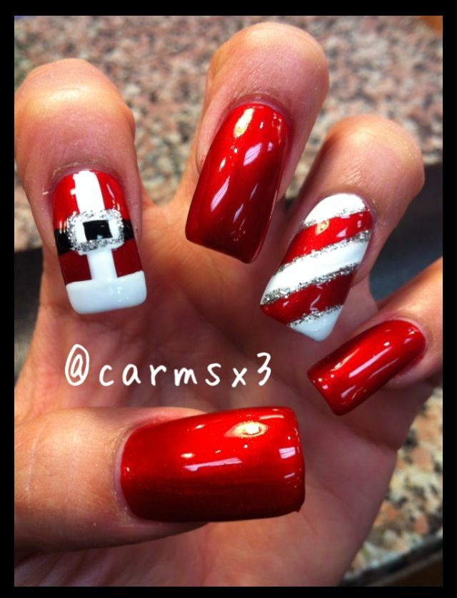 Christmas Nails Candy Cane  Best 25 Candy cane nails ideas on Pinterest