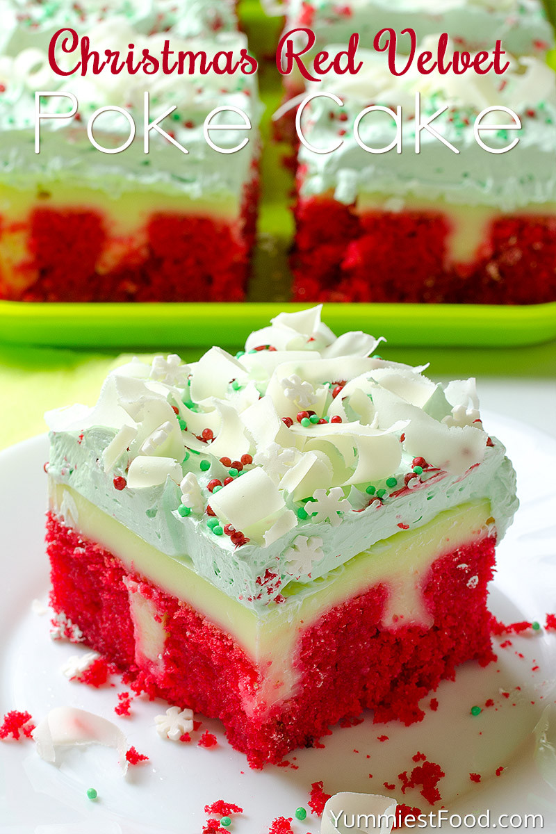 Christmas Poke Cake  Christmas Red Velvet Poke Cake Recipe from Yummiest Food