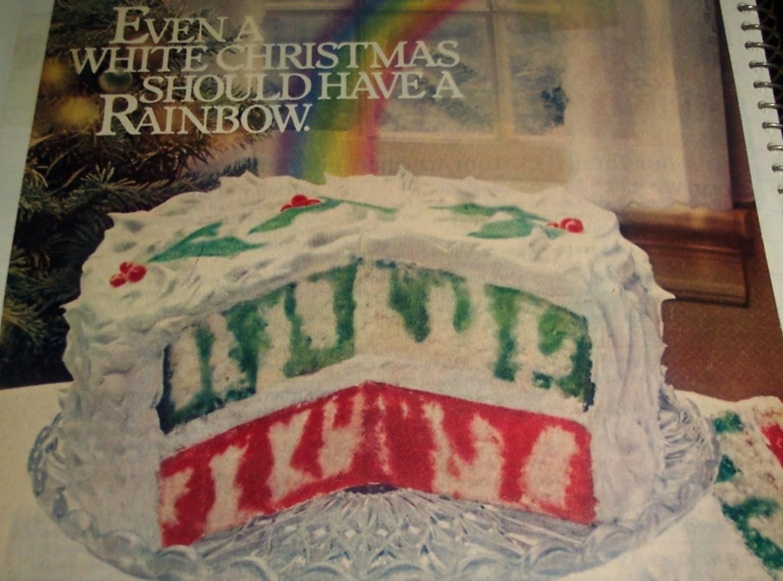 Christmas Poke Cake  CHRISTMAS RAINBOW JELL O POKE CAKE 1980 Recipe 1980