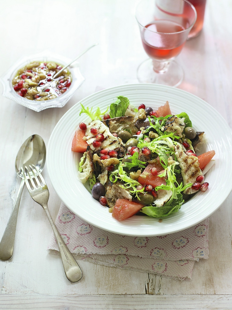 Christmas Salads Recipes Jamie Oliver  Halloumi Salad with Bread & Watermelon Cheese Recipes