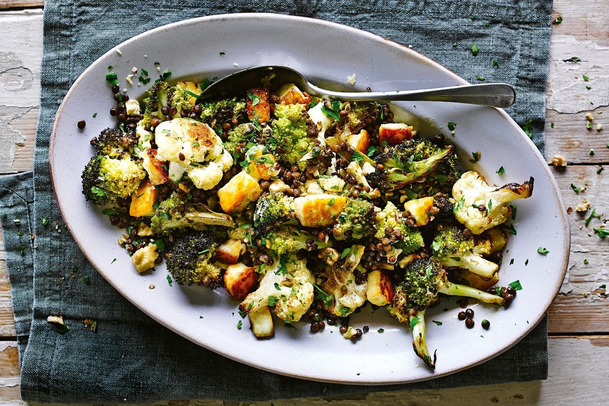 Christmas Salads Recipes Jamie Oliver  Jamie Oliver s roasted brassica salad with lentils and