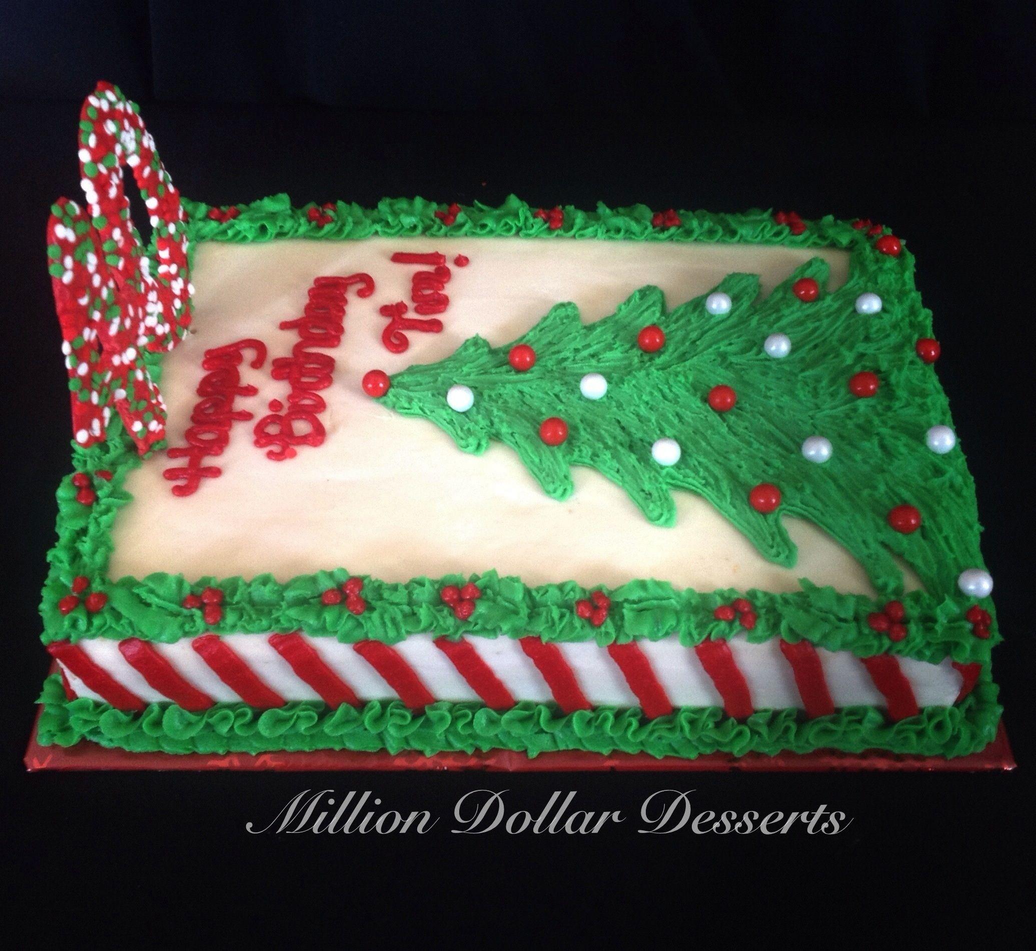 Christmas Sheet Cake Ideas  Happy 40th Christmas Tree Sheet Cake w Candy Cane Stripes