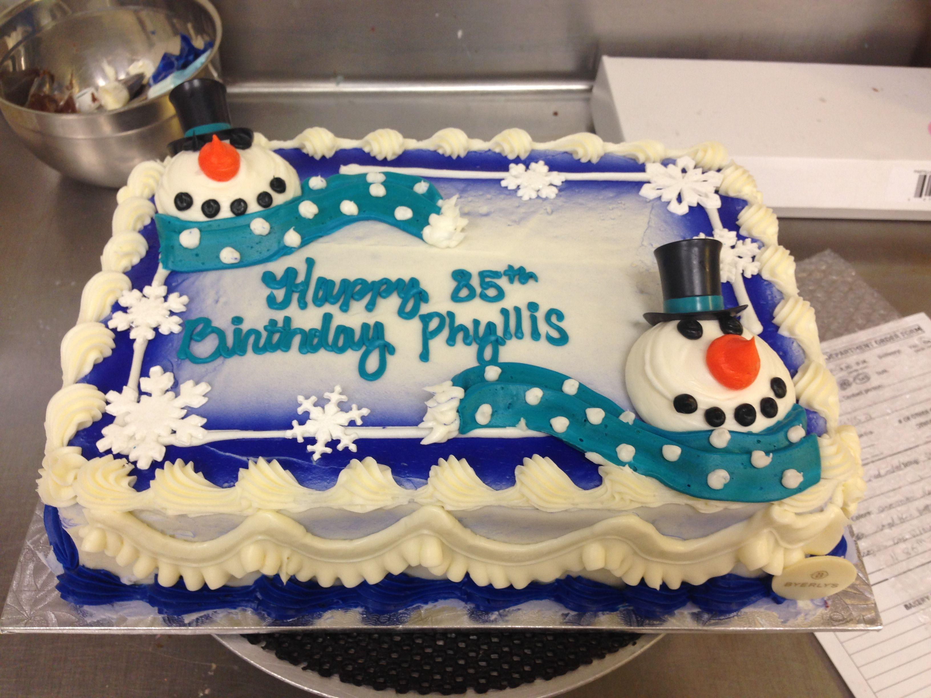 Christmas Sheet Cake Ideas  1 4 Sheet Snowmen cake Cakes Drawings in 2019