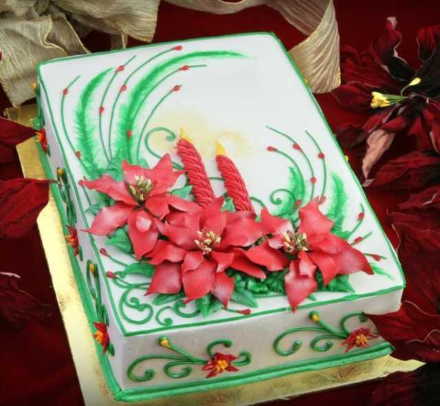 Christmas Sheet Cake Ideas  Poinsettia Cake