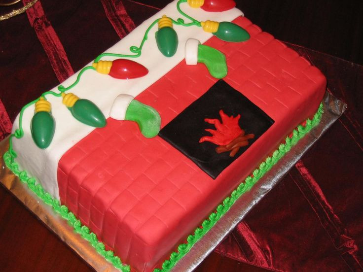 Christmas Sheet Cake Ideas  sheet cake covered in fondant and decorated with molded