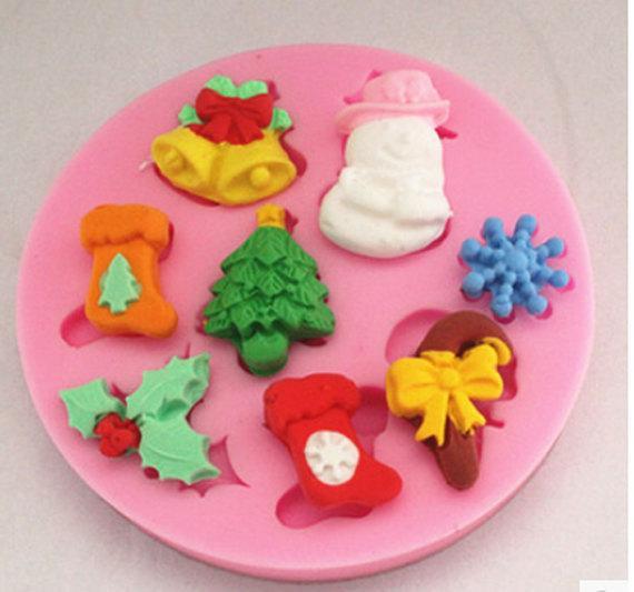 Christmas Silicone Baking Molds  Christmas silicone resin mold fondant cake by