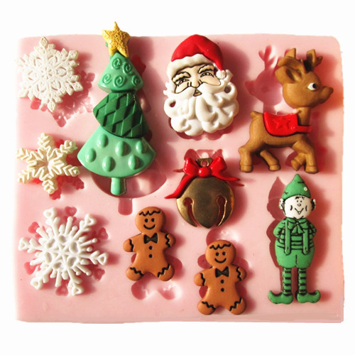 Christmas Silicone Baking Molds  M0006 Christmas snow Reindeer tree silicone fondant cake