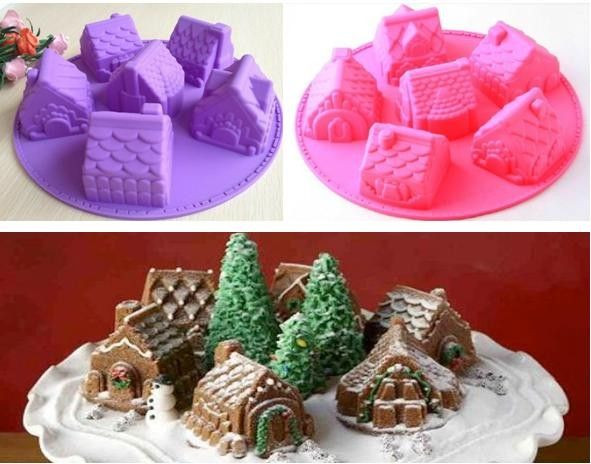 Christmas Silicone Baking Molds  Details about 3D Village Gingerbread House Silicone Mold