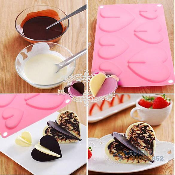 Christmas Silicone Baking Molds  Hearts Love Silicone Chocolate Mold Baking Bakeware Mould