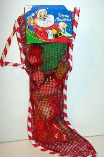Christmas Stocking Candy  Old vintage 1960s Holiday Christmas Stocking filled w Toys