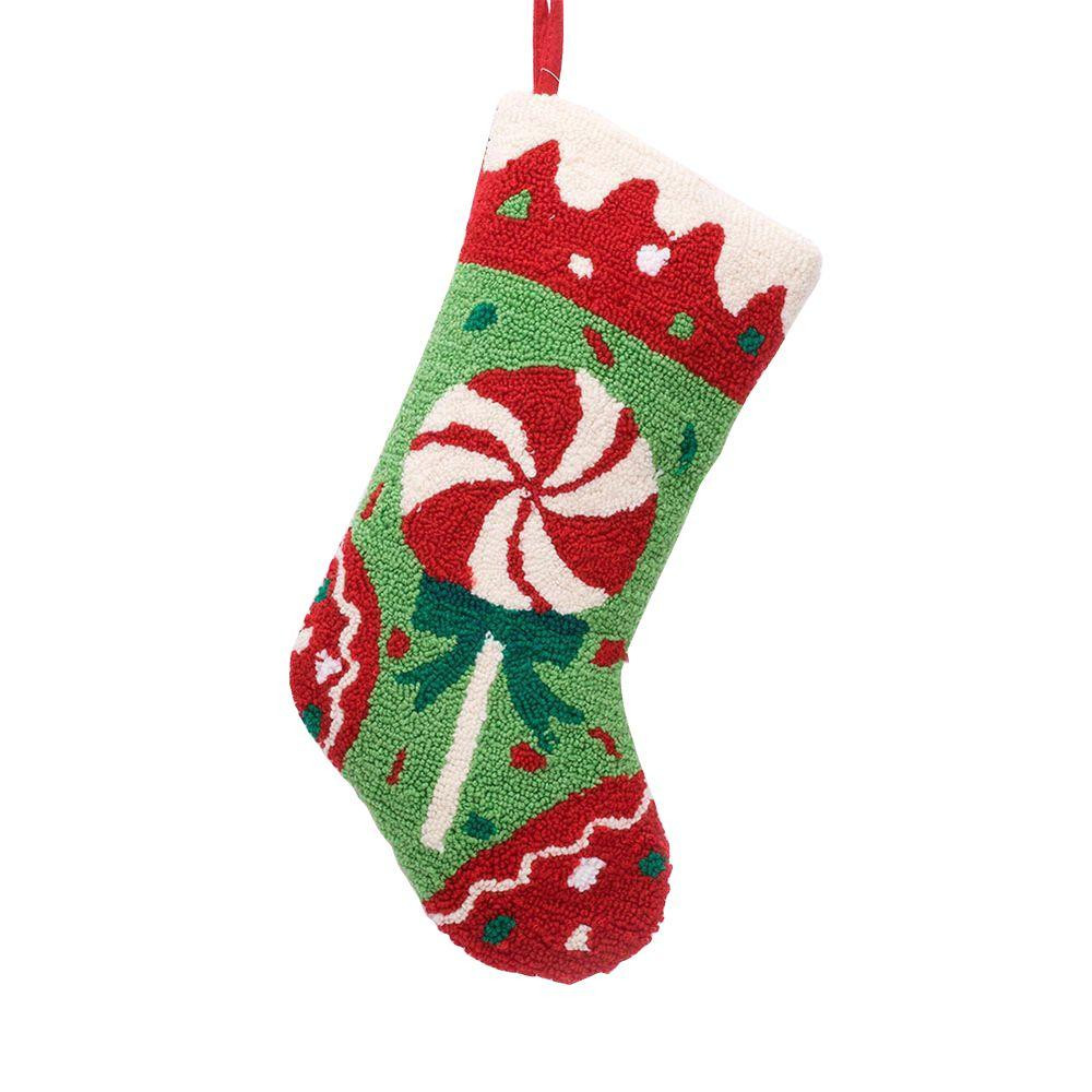 Christmas Stocking Candy  Glitzhome 19 in Polyester Acrylic Hooked Christmas
