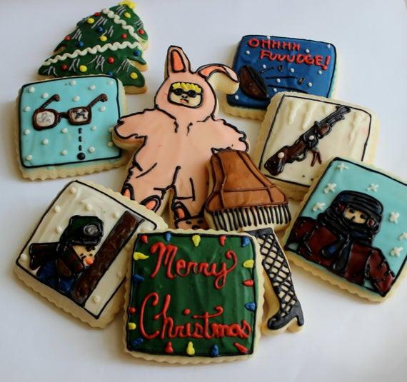 Christmas Story Cookies  Christmas Tale Bunny Pajamas Leg Lamp Sugar Cookies with