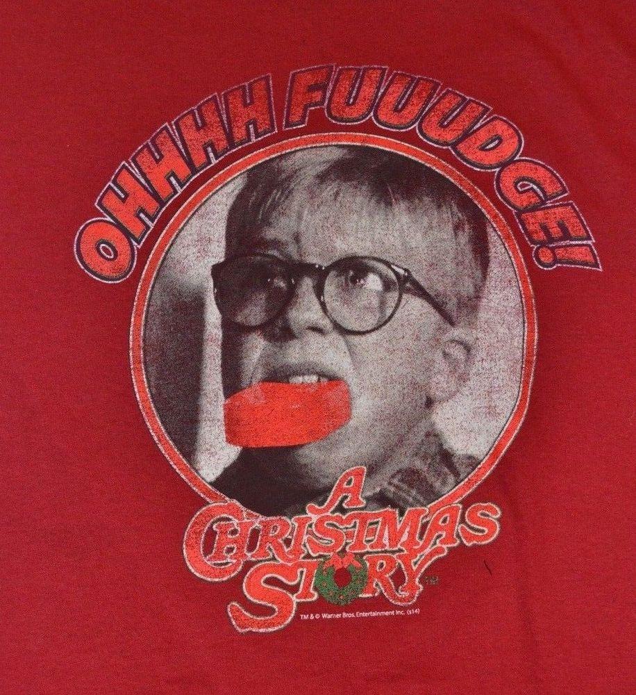 Christmas Story Fudge  OHHHH FUDGE A Christmas Story Adult RED T Shirt Tee New