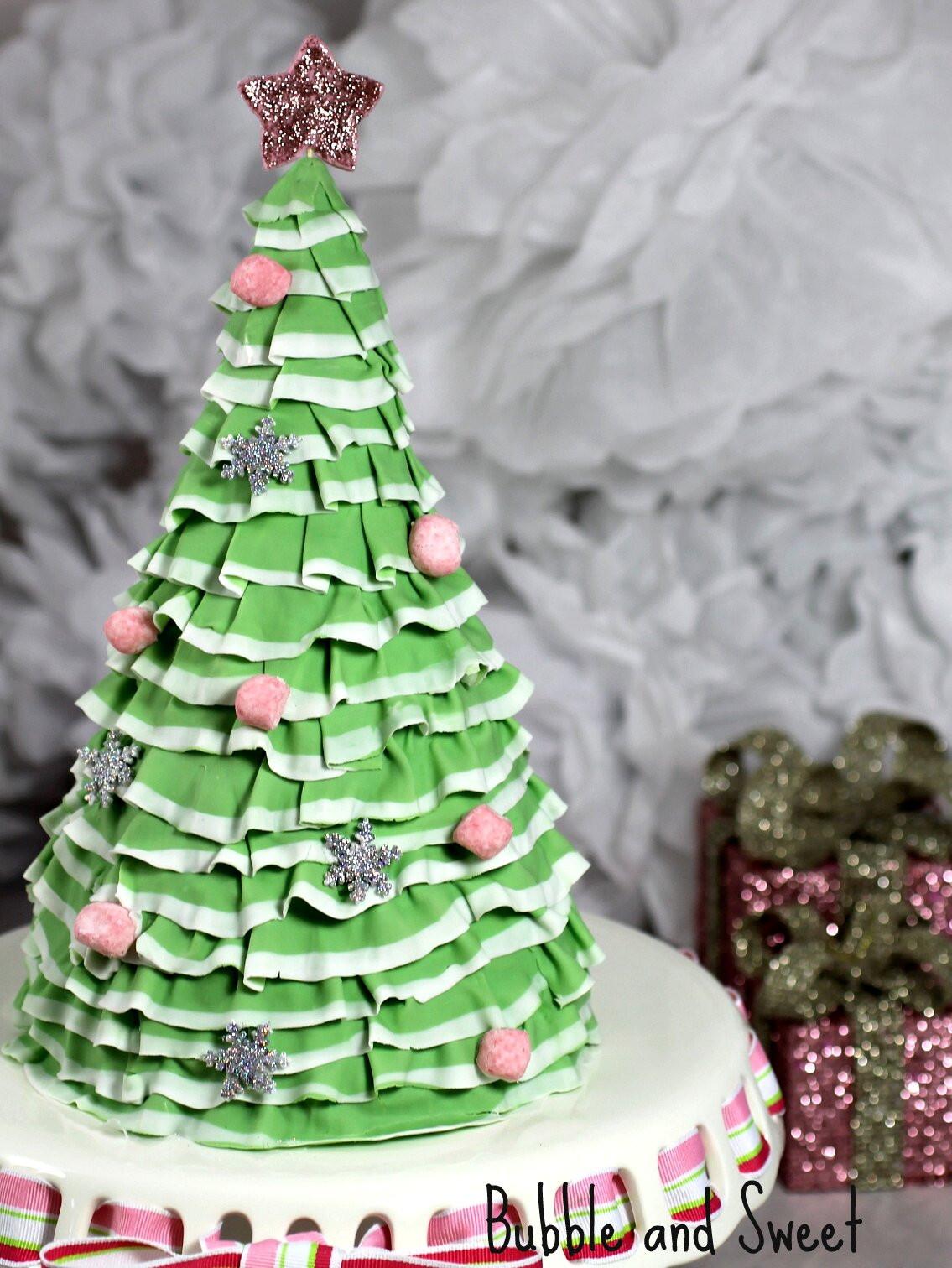Christmas Tree Cakes  Bubble and Sweet Pretty Layered Ruffle Christmas Tree