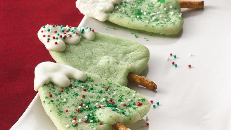 Christmas Tree Cookies Recipe  Snow Capped Christmas Tree Cookies recipe from Betty Crocker