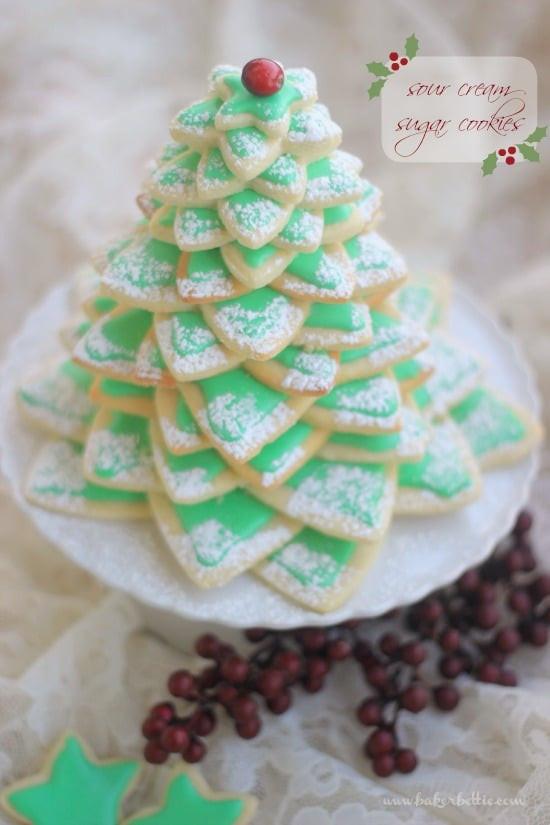 Christmas Tree Cut Out Cookies  Cookie Christmas Tree Sour Cream Sugar Cookies Baker Bettie