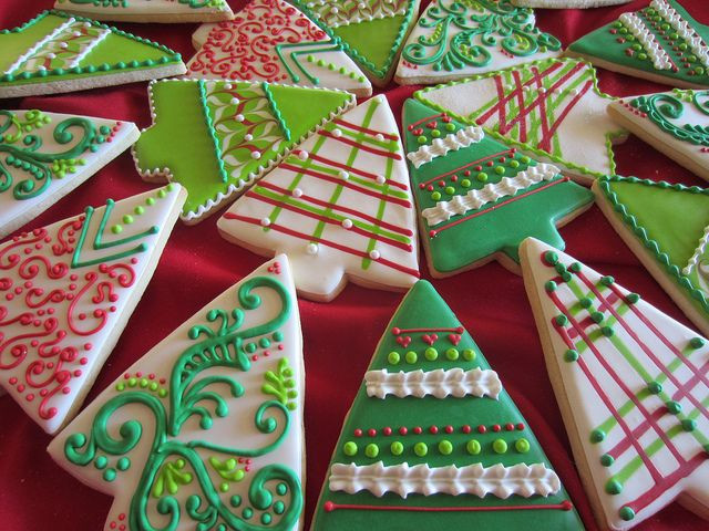 Christmas Tree Cut Out Cookies  Decorated Christmas tree cookies sugar cookies rolled out