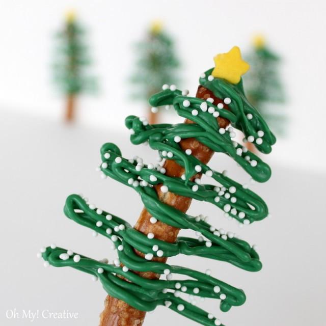 Christmas Tree Pretzels  Chocolate pretzel christmas trees 6 Oh My Creative
