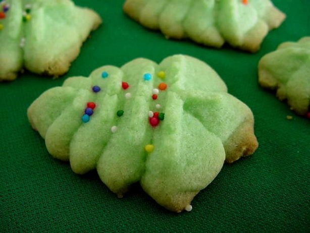 Christmas Tree Spritz Cookies  Almond Spritz Press Cookies Recipe Food