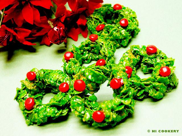 Christmas Wreath Cookies With Corn Flakes  Corn Flake Wreath