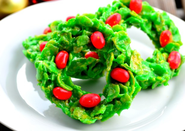 Christmas Wreath Cookies With Corn Flakes  Christmas Cornflake Wreath Cookies Recipe Food