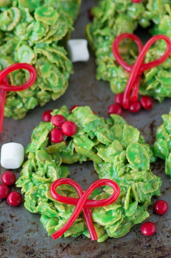 Christmas Wreath Cookies With Corn Flakes  Christmas Wreath Cookies
