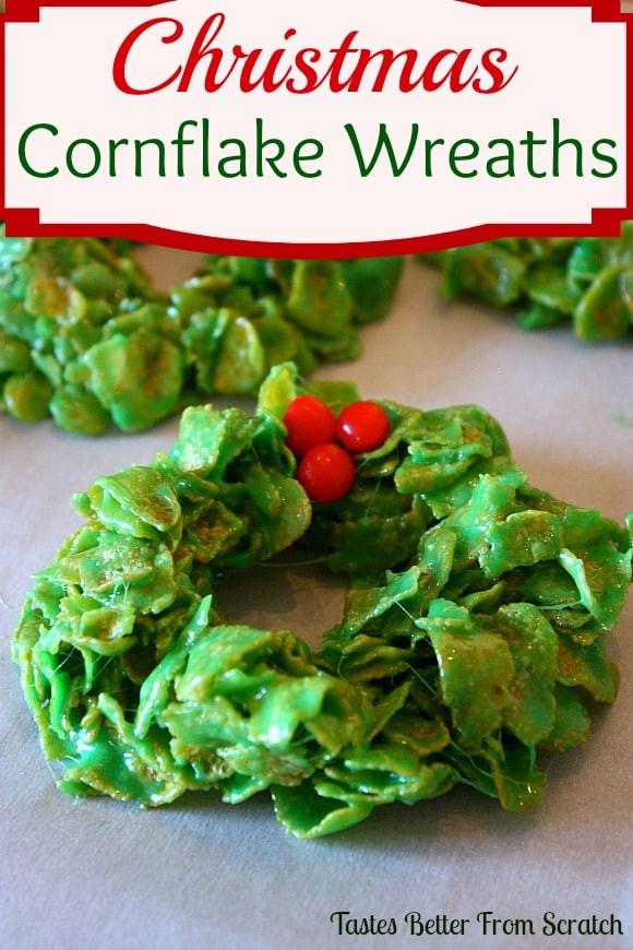 Christmas Wreath Cookies With Corn Flakes  Christmas Cornflake Wreaths