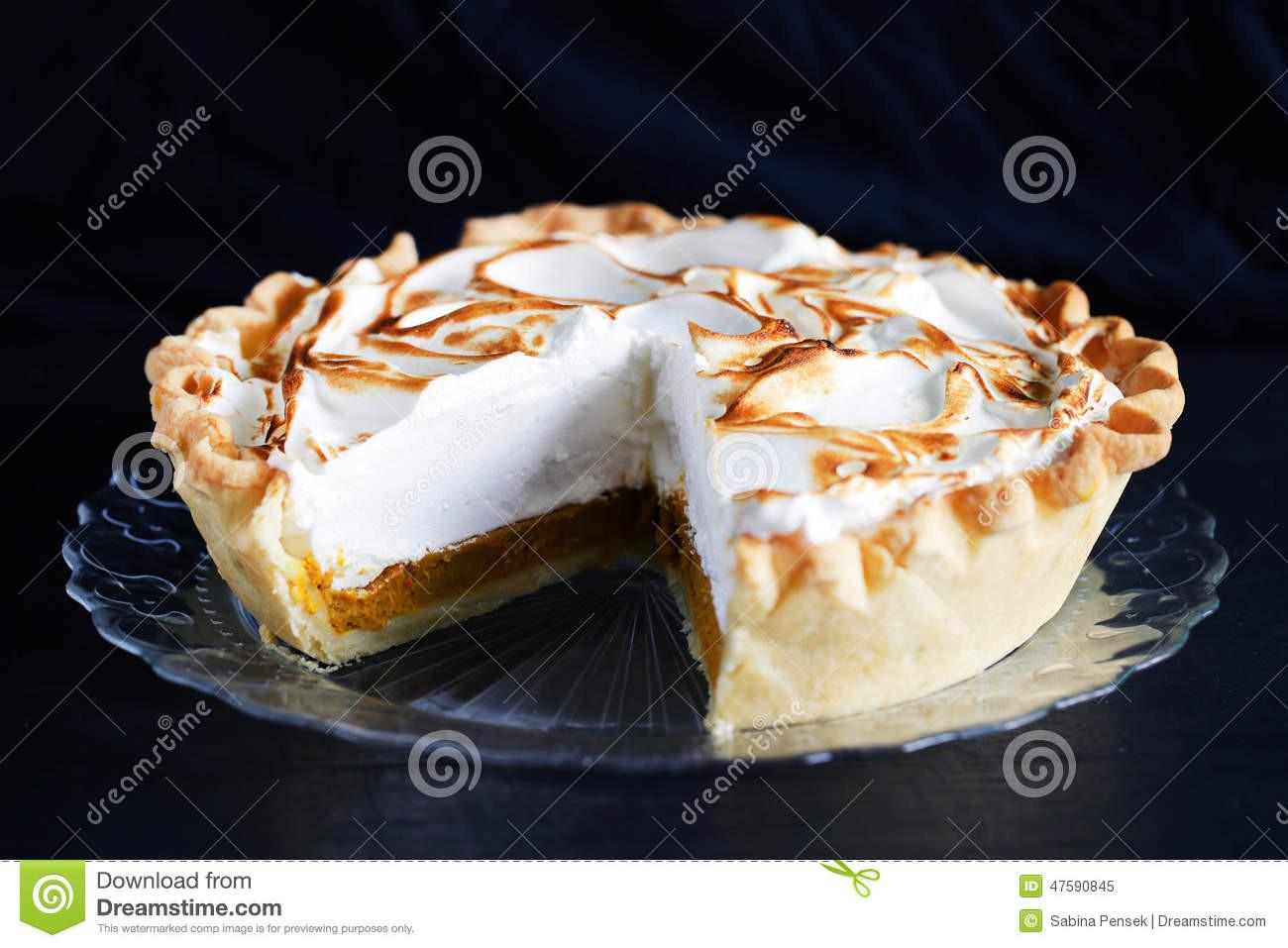 Classic Thanksgiving Desserts  Pumpkin Pie Cutout With Meringue Cream Classic