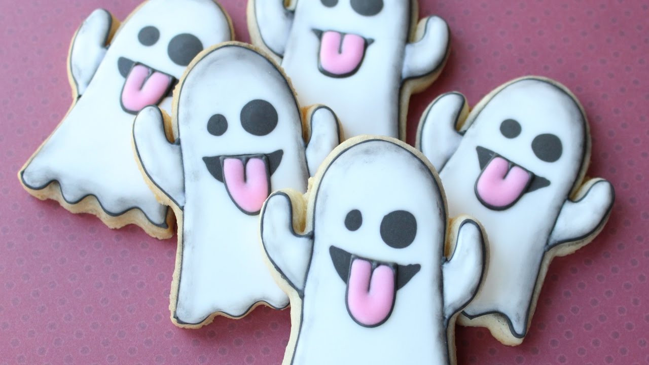 Cute Halloween Cookies  Ghost Emoji Cookies Cute & easy Halloween cookies