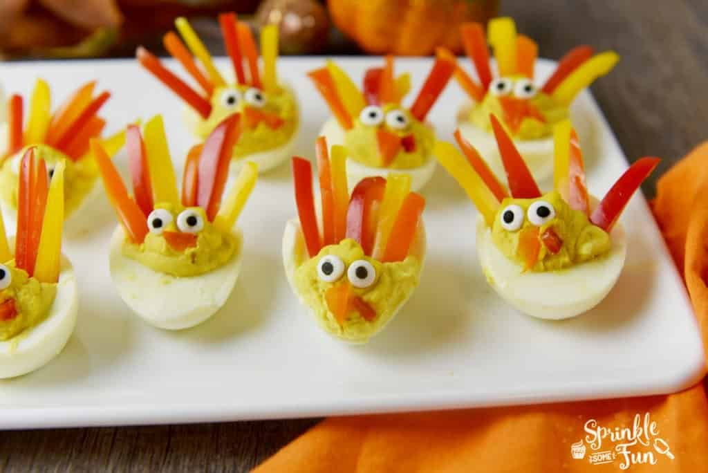 Deviled Eggs For Thanksgiving  Deviled Egg Turkeys Sprinkle Some Fun