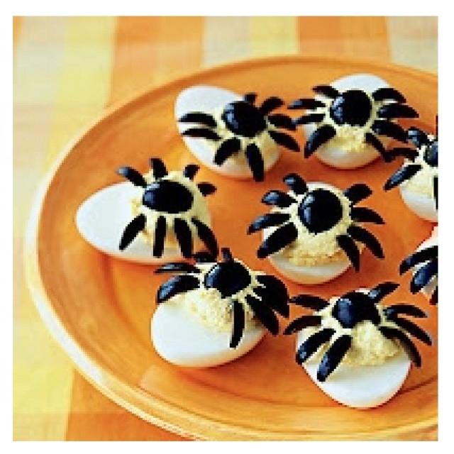 Deviled Eggs Spider Halloween  Spider deviled eggs Halloween