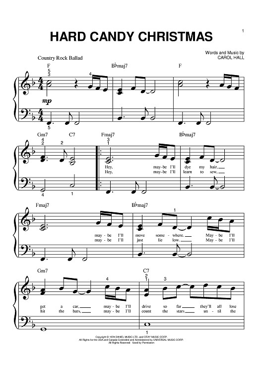 Dolly Parton Hard Candy Christmas Song  Hard Candy Christmas Sheet Music Music for Piano and
