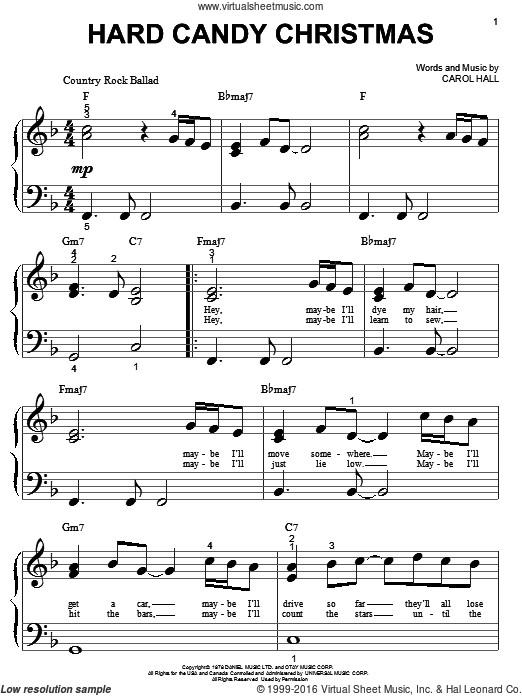 Dolly Parton Hard Candy Christmas Song  Parton Hard Candy Christmas sheet music for piano solo