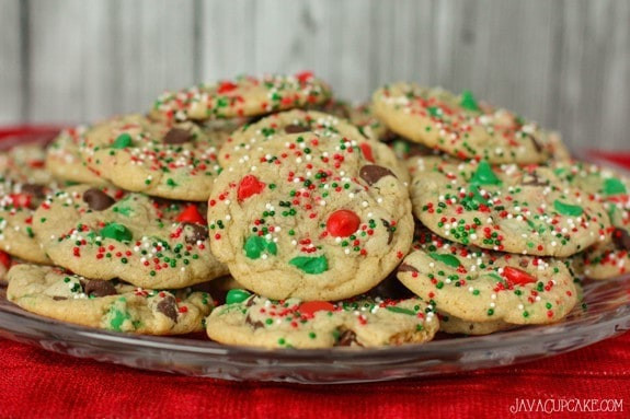 Easy Christmas Cookies And Candy  Easy Holiday Chocolate Chip Cookies JavaCupcake