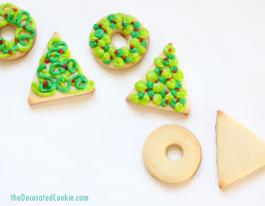 Easy Decorative Christmas Cookies  simple Christmas wreath and tree cookies easy holiday cookies