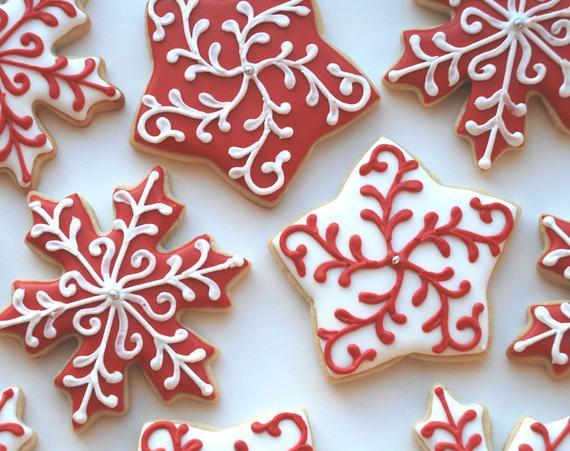 Elegant Christmas Cookies  Elegant Christmas Holiday Snowflake and Star Cookies e